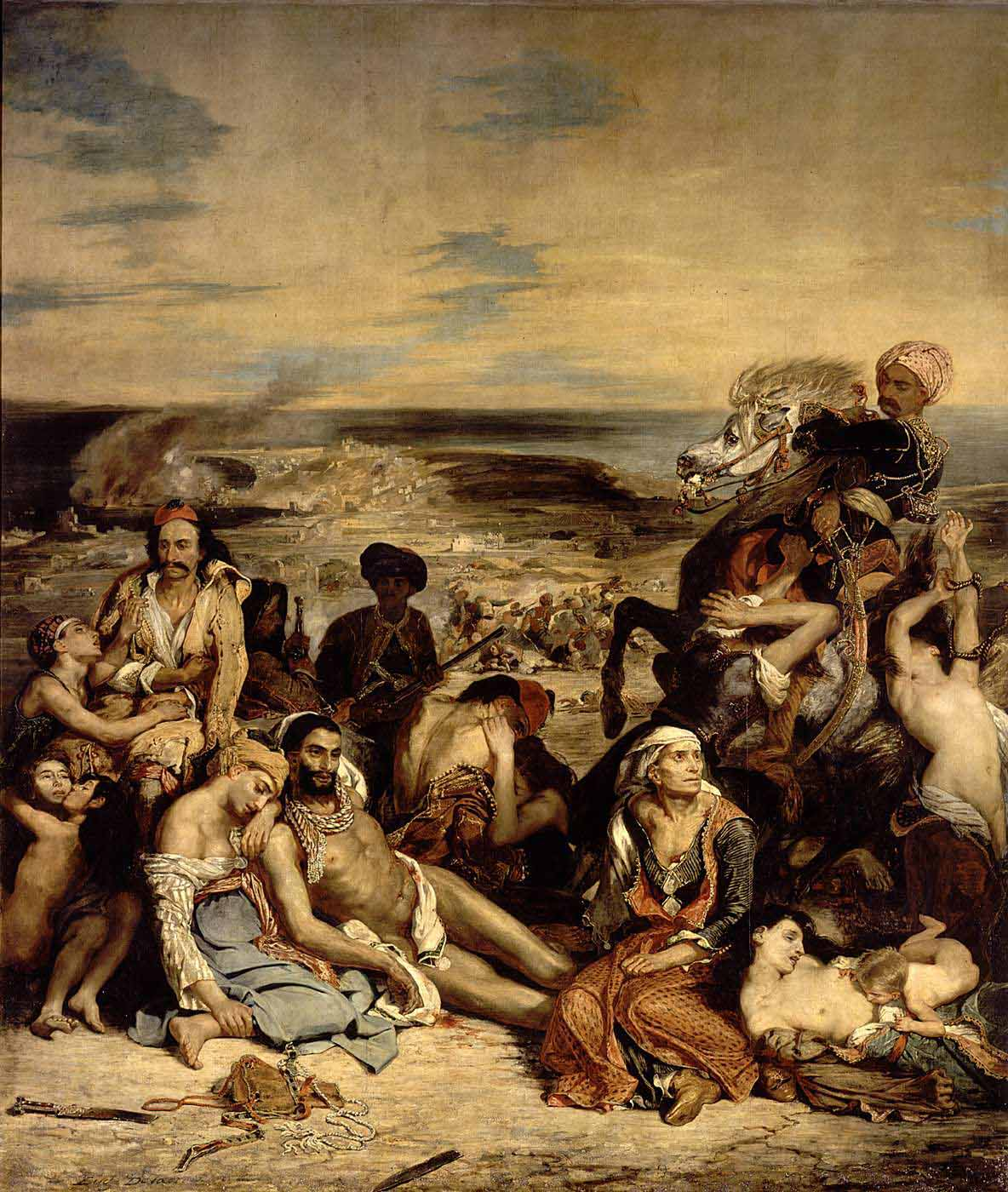 eugene delacroix's the massacre at chios 15082018  watch video  delacroix, scene of the massacre at chios delacroix,  woman: we're in louvre and we're looking at delacroix's the death of sardanapalus.