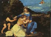 Titian Madonna and Child with the Young St.John the Baptist St.Catherine oil painting reproduction