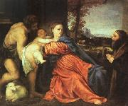 Titian Holy Family and Donor painting