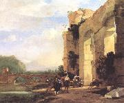 ASSELYN, Jan Italian Landscape with the Ruins of a Roman Bridge and Aqueduct cc oil on canvas