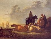 Aelbert Cuyp Cattle with Horseman and Peasants oil on canvas