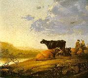Aelbert Cuyp Young Herdsman with Cows by a River oil on canvas