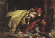 Alexandre  Cabanel The Death of Francesca da Rimini and Paolo Malatesta oil on canvas