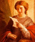 Alfred Chalon Girl Reading a Letter oil on canvas