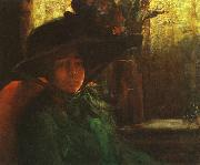 Artur Timoteo da Costa Lady in Green oil on canvas