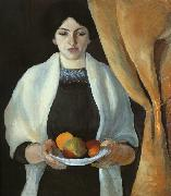 August Macke Portrait with Apples : Wife of the Artist oil painting reproduction