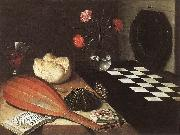 BAUGIN, Lubin Still-life with Chessboard (The Five Senses) fg oil on canvas