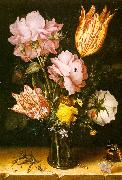 Berghe, Christoffel van den Bouquet of Flowers on a Stone Ledge oil on canvas