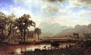 Bierstadt, Albert Haying, Conway Meadows painting