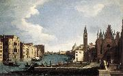 CANAL, Bernardo The Grand Canal with the Church of La Carita ff oil on canvas