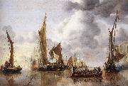 CAPELLE, Jan van de The State Barge Saluted by the Home Fleet df oil on canvas