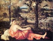 CARIANI Reclining Woman in a Landscape fd oil on canvas