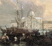 CARLEVARIS, Luca The Sea Custom House with San Giorgio Maggiore (detail) fg oil on canvas