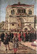 CARPACCIO, Vittore The Ambassadors Return to the English Court (detail) fdg oil painting reproduction