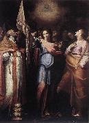 CAVAROZZI, Bartolomeo St Ursula and Her Companions with Pope Ciriacus and St Catherine of Alexandria g oil on canvas