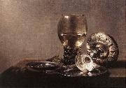 CLAESZ, Pieter Still-life with Wine Glass and Silver Bowl dsf oil on canvas