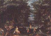 CONINXLOO, Gillis van Landscape with Leto and Peasants of Lykia fsg oil on canvas