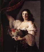 COUWENBERGH, Christiaen van Woman with a Basket of Fruit fgf oil on canvas