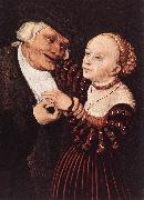 CRANACH, Lucas the Elder Old Man and Young Woman hgsw painting