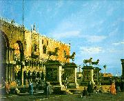 Canaletto Capriccio, The Horses of San Marco in the Piazzetta oil on canvas
