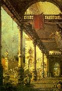 Canaletto Capriccio, A Colonnade opening onto the Courtyard of a Palace oil on canvas