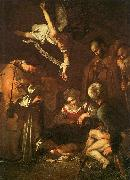 Caravaggio The Nativity with Saints Francis and Lawrence oil painting reproduction