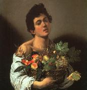 Caravaggio Youth with a Flower Basket oil on canvas