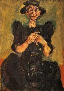 Chaim Soutine Woman Knitting oil painting reproduction