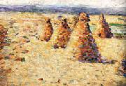 Charles Angrand Hay ricks in Normandy painting