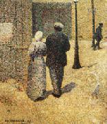 Charles Angrand Couple in the Street oil on canvas