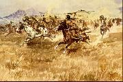 Charles M Russell Fight Between the Black Feet oil on canvas
