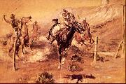 Charles M Russell The Getaway oil on canvas