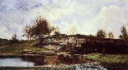 Charles-Francois Daubigny Sluice in the Optevoz Valley oil on canvas