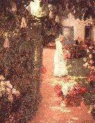 Childe Hassam Gathering Flowers in a French Garden oil on canvas