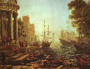 Claude Lorrain Seaport : The Embarkation of St.Ursula oil painting