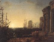 Claude Lorrain Harbour Scene at Sunset fg painting