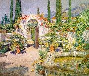 Colin Campbell Cooper A Santa Barbara Courtyard oil on canvas