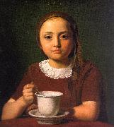 Constantin Hansen Little Girl with a Cup oil on canvas