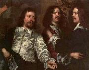 DOBSON, William The Painter with Sir Charles Cottrell and Sir Balthasar Gerbier dfg oil on canvas