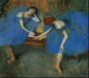 Edgar Degas Two Dancers in Blue oil painting