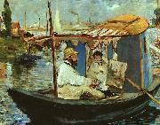 Edouard Manet Claude Monet Working on his Boat in Argenteuil oil painting