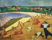 Emile Bernard Harvest on the Edge of the Sea painting