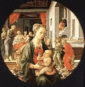Fra Filippo Lippi Madonna and Child with Stories from the Life of St.Anne oil on canvas