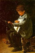 Francois Bonvin Seated Boy with a Portfolio oil on canvas