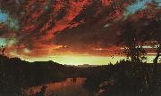 Frederick Edwin Church Secluded Landscape at Sunset oil on canvas