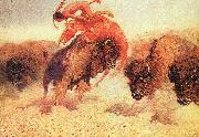 Frederick Remington The Buffalo Runner oil painting