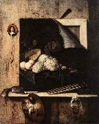 GIJBRECHTS, Cornelis Still-Life with Self-Portrait fgh oil on canvas