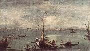 GUARDI, Francesco The Lagoon with Boats, Gondolas, and Rafts kug oil painting