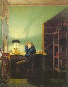 Georg Friedrich Kersting Man Reading by Lamplight oil