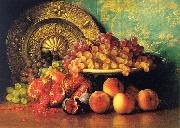 George Henry Hall Figs, Pomegranates, Grapes and Brass Plate oil painting reproduction